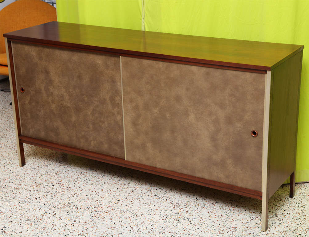 mid century modern paul mccobb calvin walnut buffet with top cabinet for sale