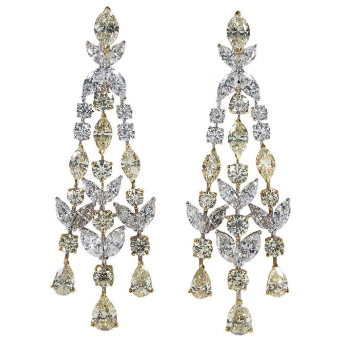 Yellow And White Diamond Chandelier Earrings 1