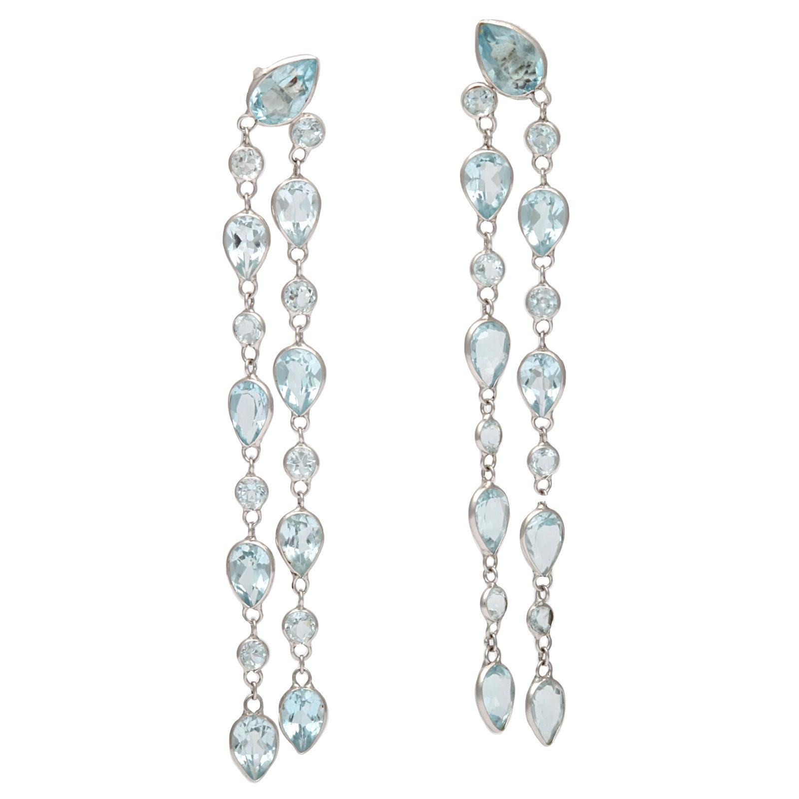 Blue Topaz Cascading Earrings At 1stdibs