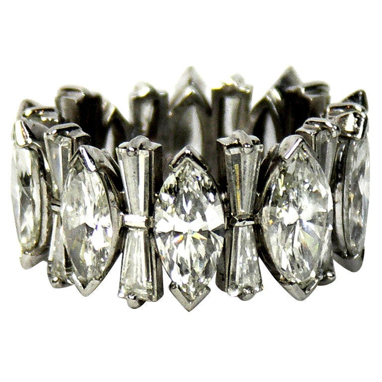 Platinum Marquise And Baguette Diamond Eternity Band At