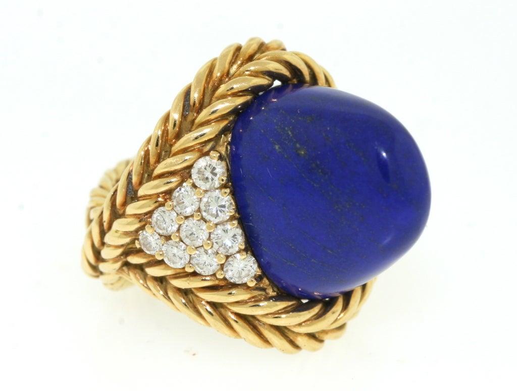 Boucheron Paris Lapis Diamond Gold Ring At 1stdibs