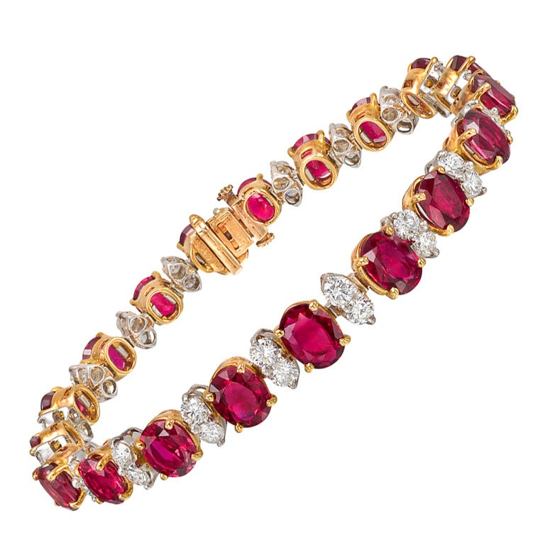 OSCAR HEYMAN Ruby And Diamond Bracelet At 1stdibs