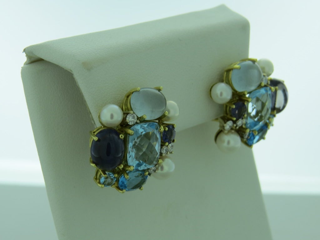 Maz Gold Diamond Multi Gemstone Earrings At 1stdibs