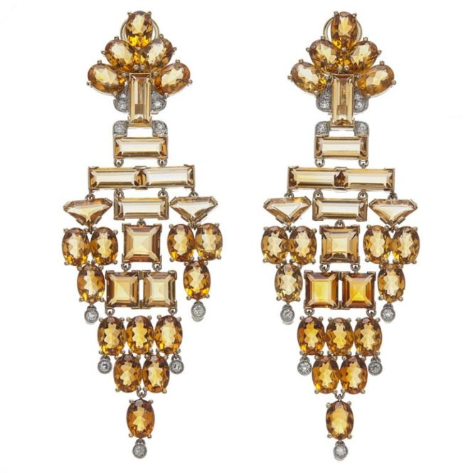 Stunning Citrine Diamond White And Yellow Gold Chandelier Earrings For