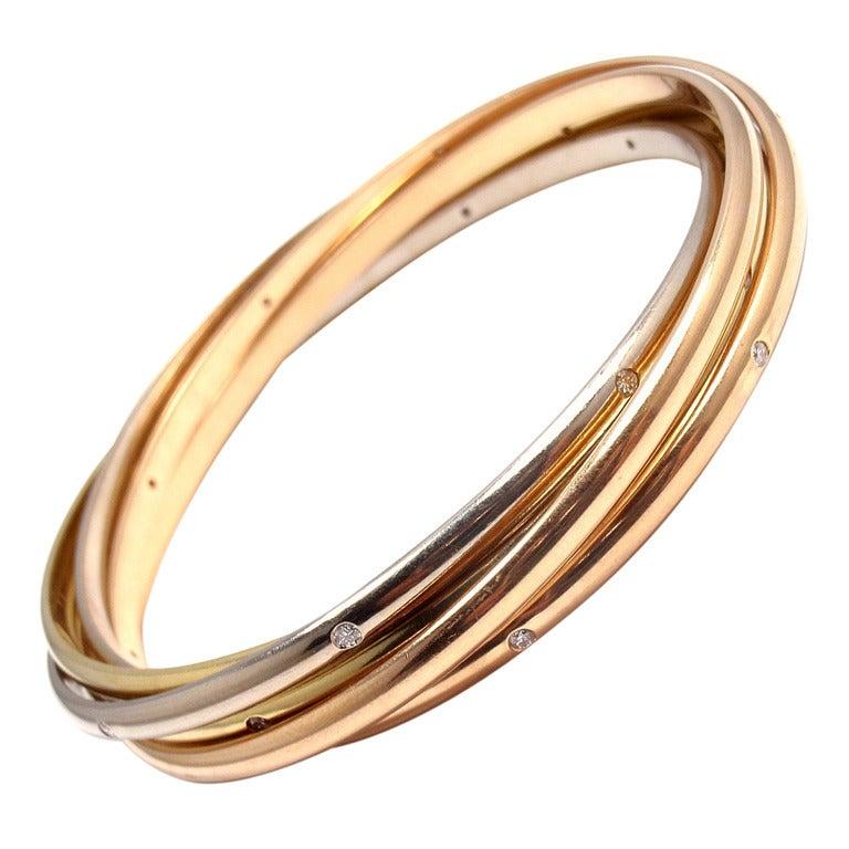 CARTIER Diamond Trinity Tri Color Gold Bracelet At 1stdibs