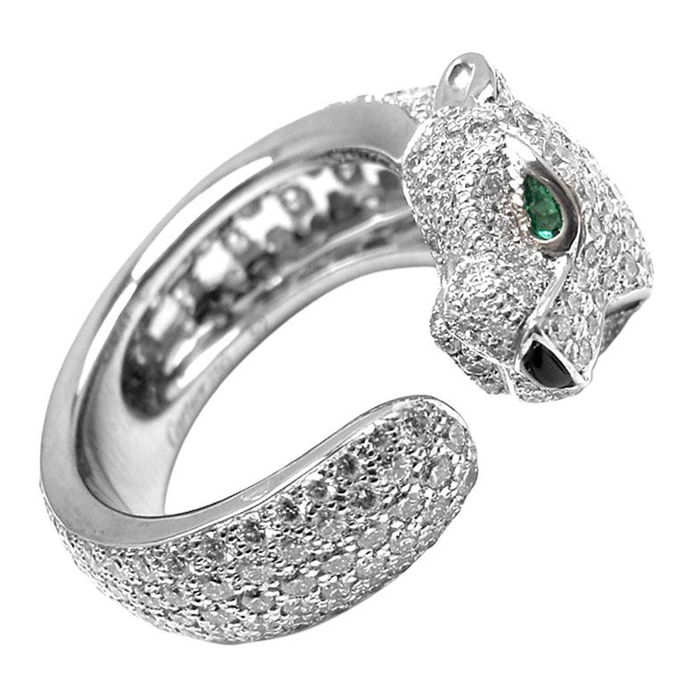 Cartier Panther Onyx Emerald Diamond White Gold Ring At