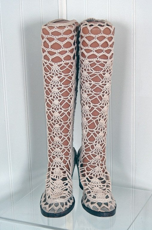 1960s Ivory Creme Crochet Lace Knee High Grecian Go Go