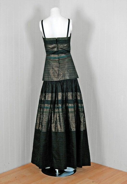 1948 Adrian Couture Metallic Lame Silk Grecian Keys