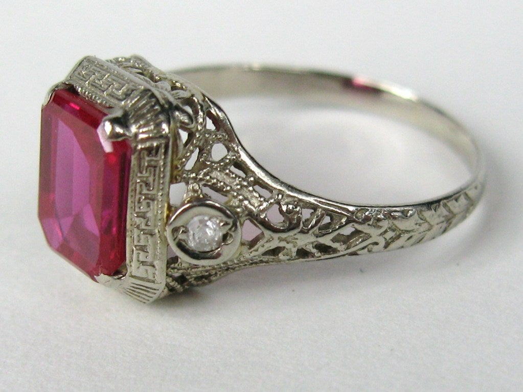 1920s Art Deco White Gold Ruby Diamond Filigree Ring At