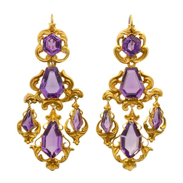 Victorian Amethyst Gold Drop Earrings For Sale at 1stdibs