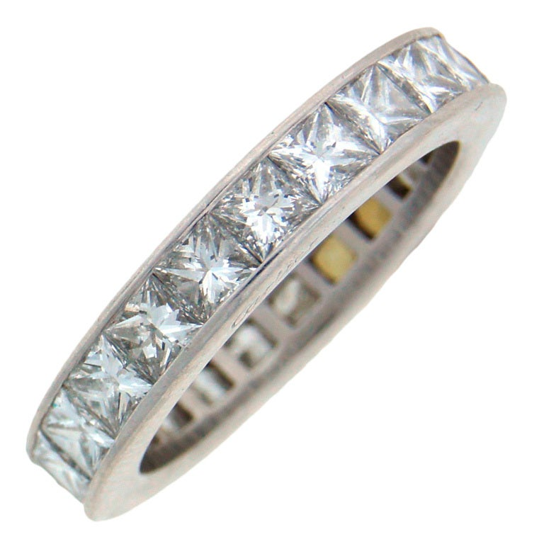 CARTIER Princess Cut Diamond And Platinum Eternity Wedding