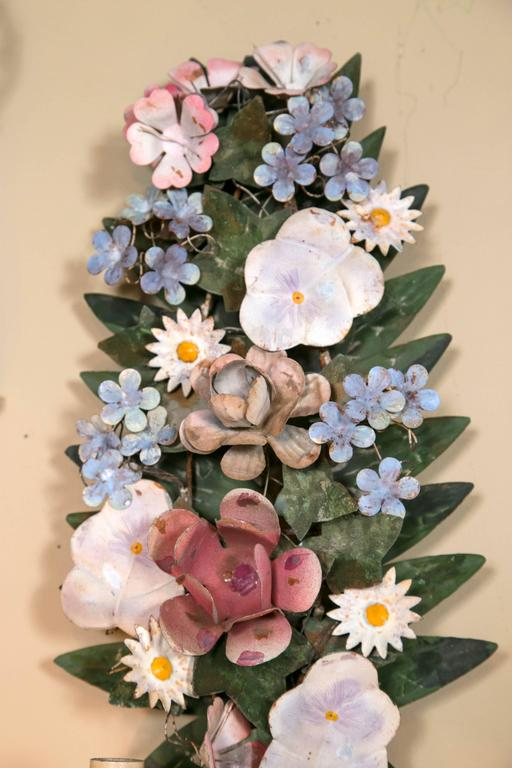 Italian Tole Flower Wall Sconces at 1stdibs on Flower Wall Sconces id=71510