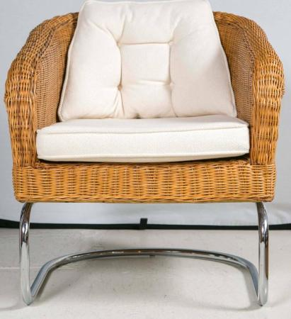 Mid Century Wicker and Chrome Barrel Chairs at 1stdibs Mid Century Modern Mid Century Wicker and Chrome Barrel Chairs For Sale