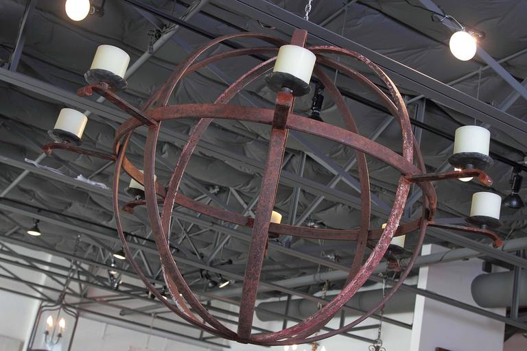 Large Industrial Orb Eight Candle Chandelier At 1stdibs
