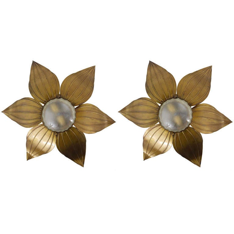 Pair of French Floral Leaves Brass Sconces Sunburst Flower ... on Wall Sconces With Flowers id=92224
