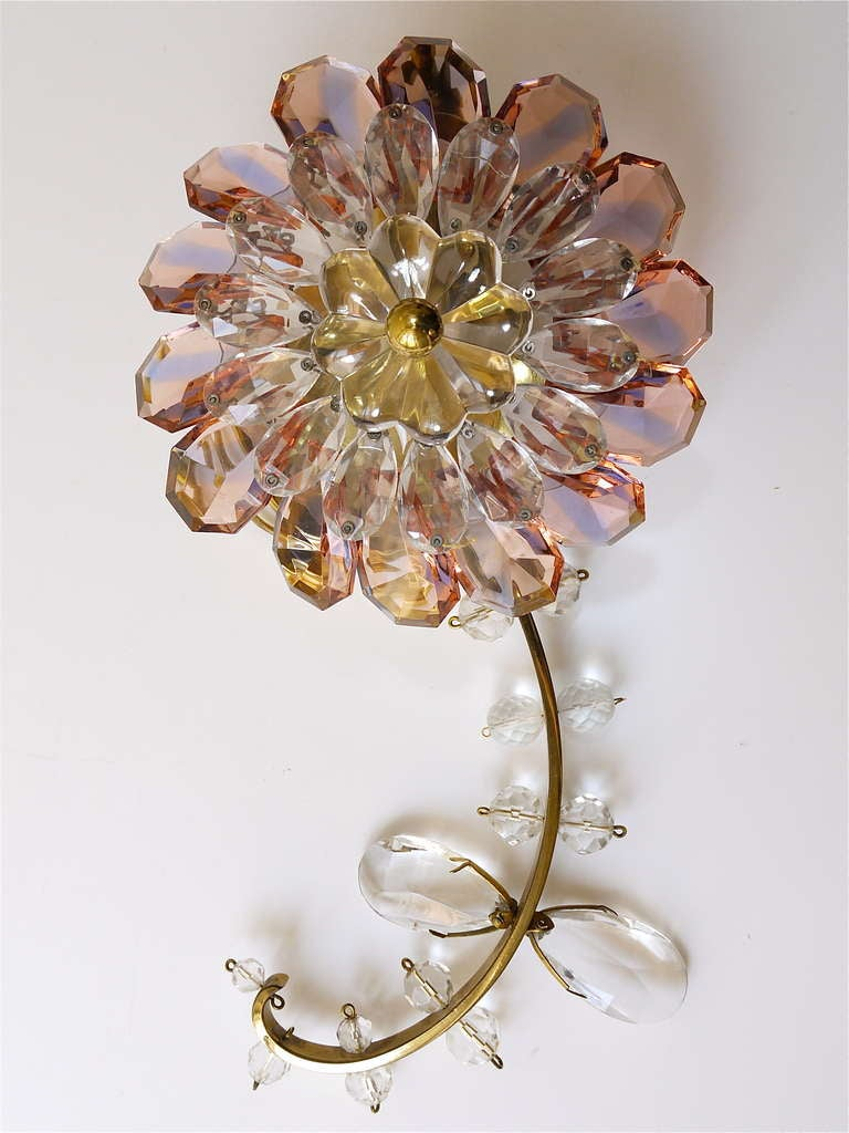 Floral Lobmeyr Vienna Crystal Glass Flower Sconces Wall ... on Wall Sconces With Flowers id=23715