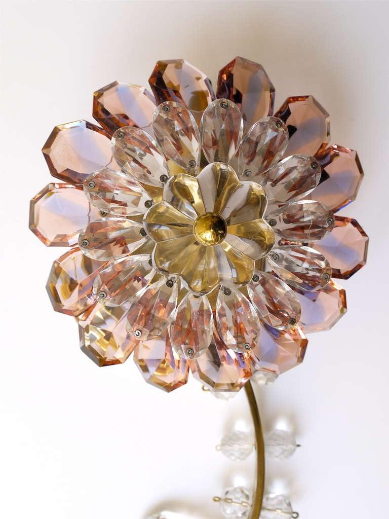 Floral Lobmeyr Vienna Crystal Glass Flower Sconces Wall ... on Flower Wall Sconces id=19351