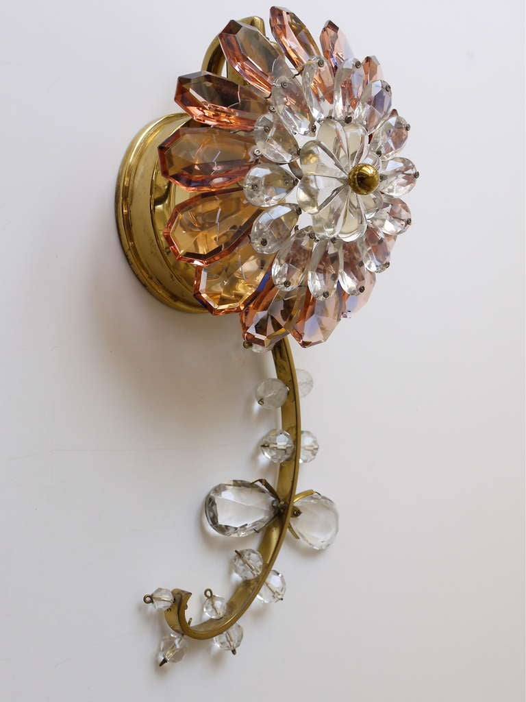 Floral Lobmeyr Vienna Crystal Glass Flower Sconces Wall ... on Wall Sconces With Flowers id=41685