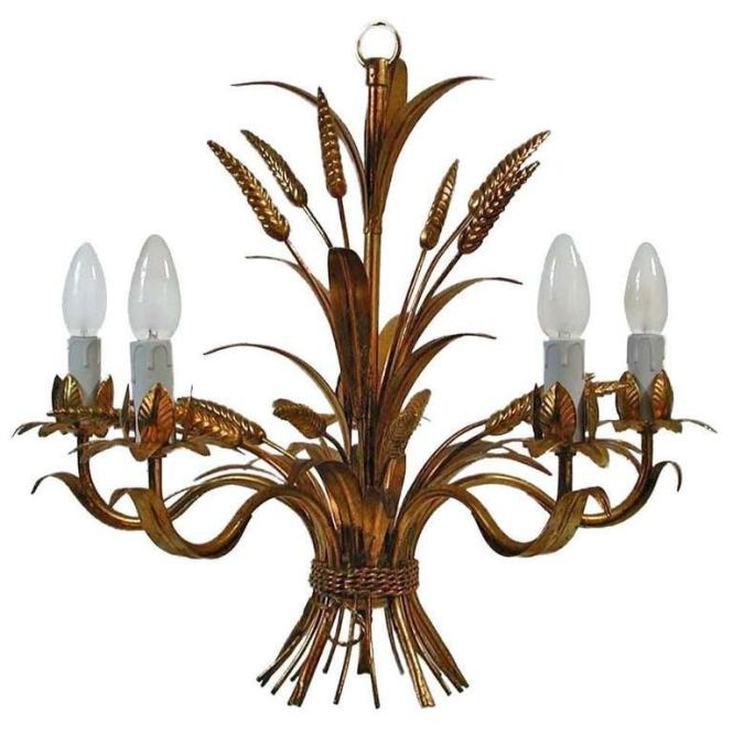 French 1950s Five Arm Gilt Sheaf Of Wheat Chandelier Hollywood Regency For