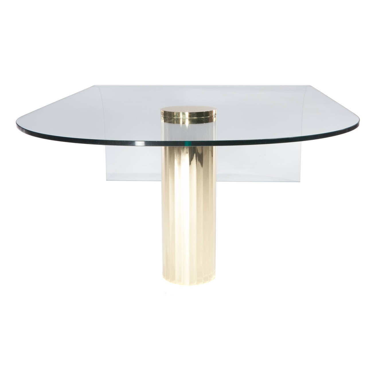 Curved Glass Cocktail Table With Single Brass Leg At 1stdibs