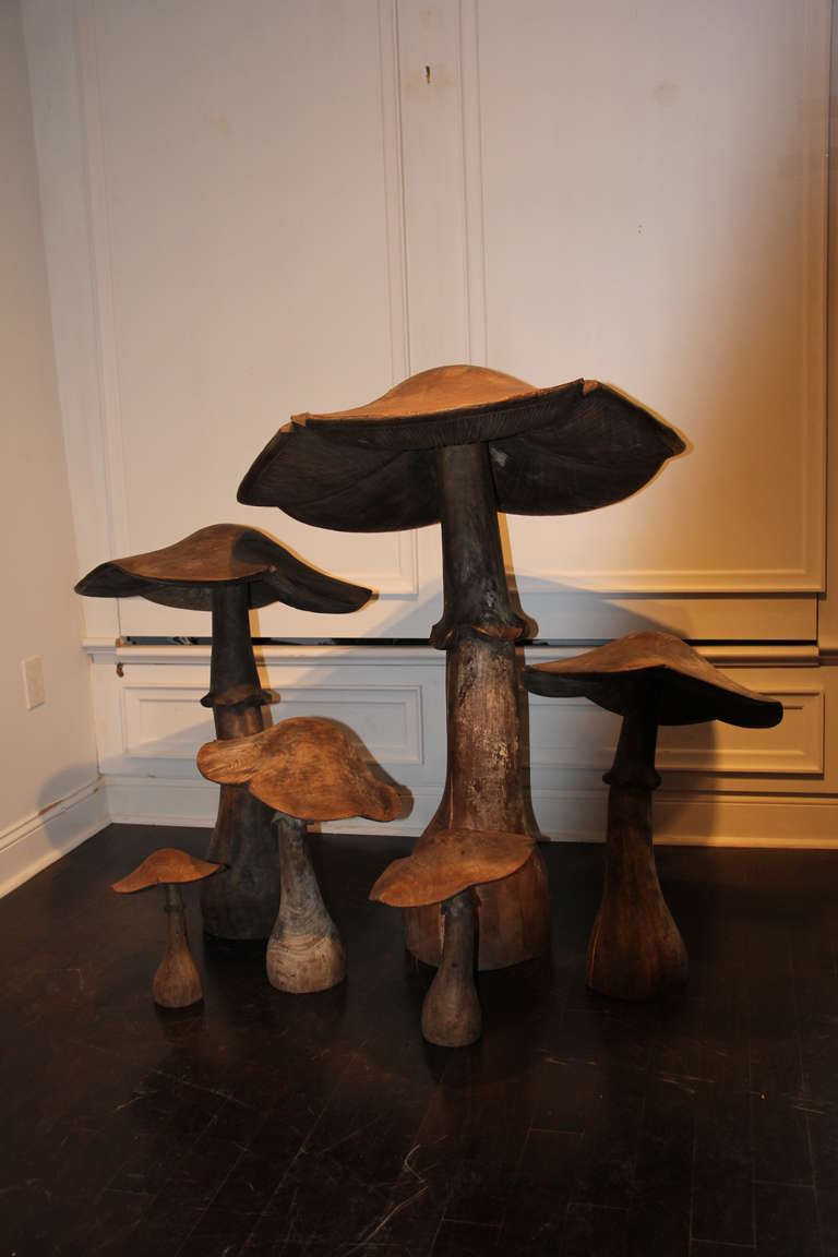 Set Of Six Wooden Mushrooms For Sale At 1stdibs