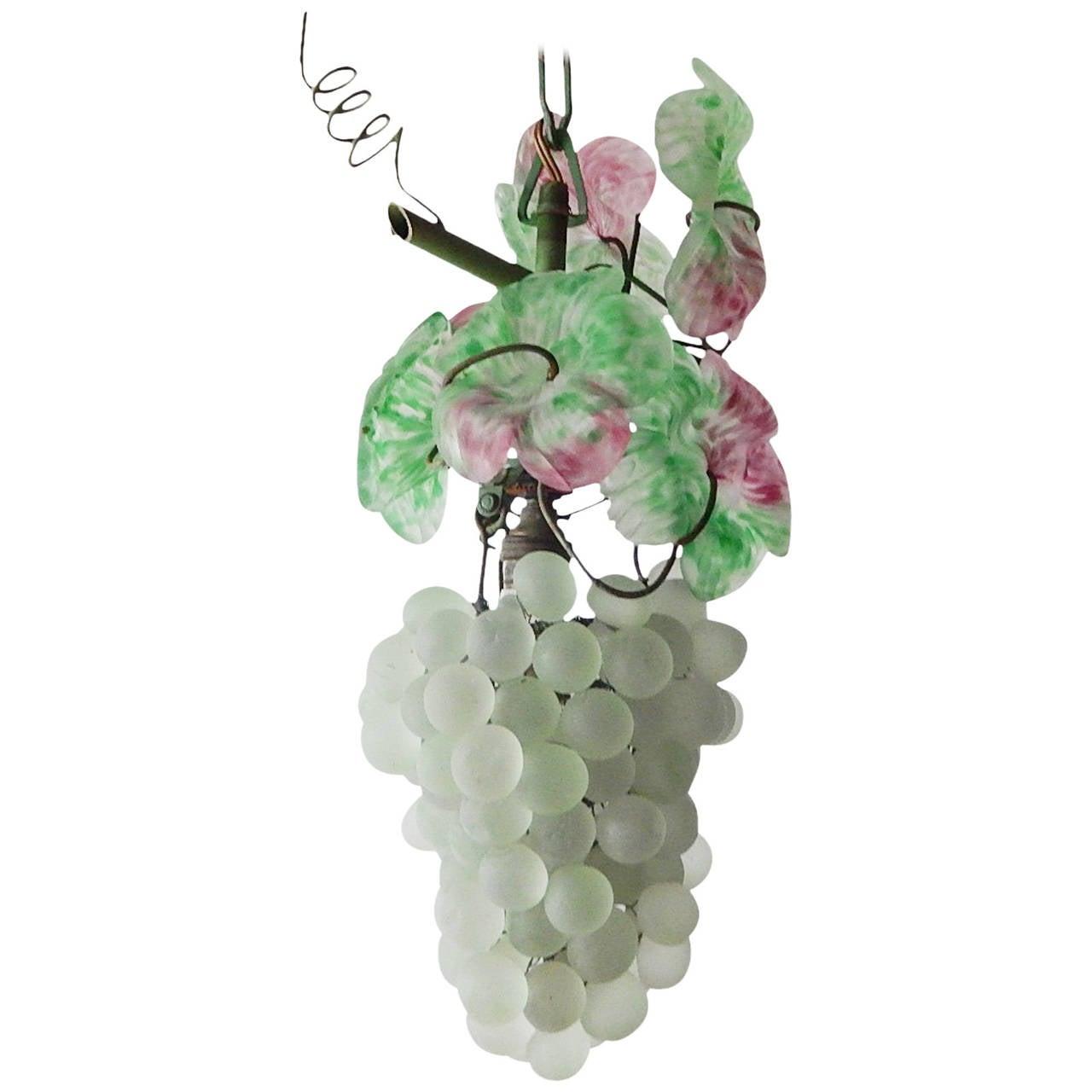 Italian Murano Glass Grape Light Green Cluster Chandelier