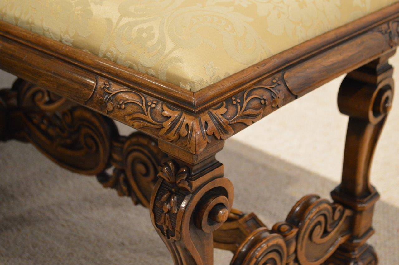 Good Walnut William And Mary Style Duet Stool At 1stdibs