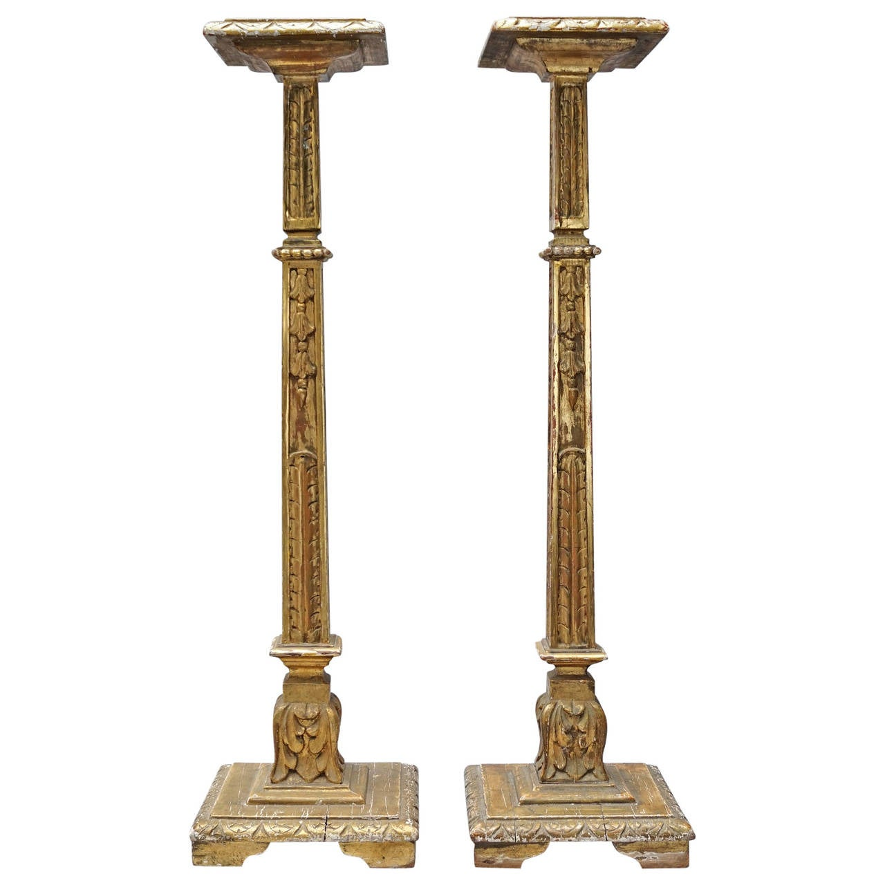 Set Of Two 19th Century Carved And Gilded Pedestals
