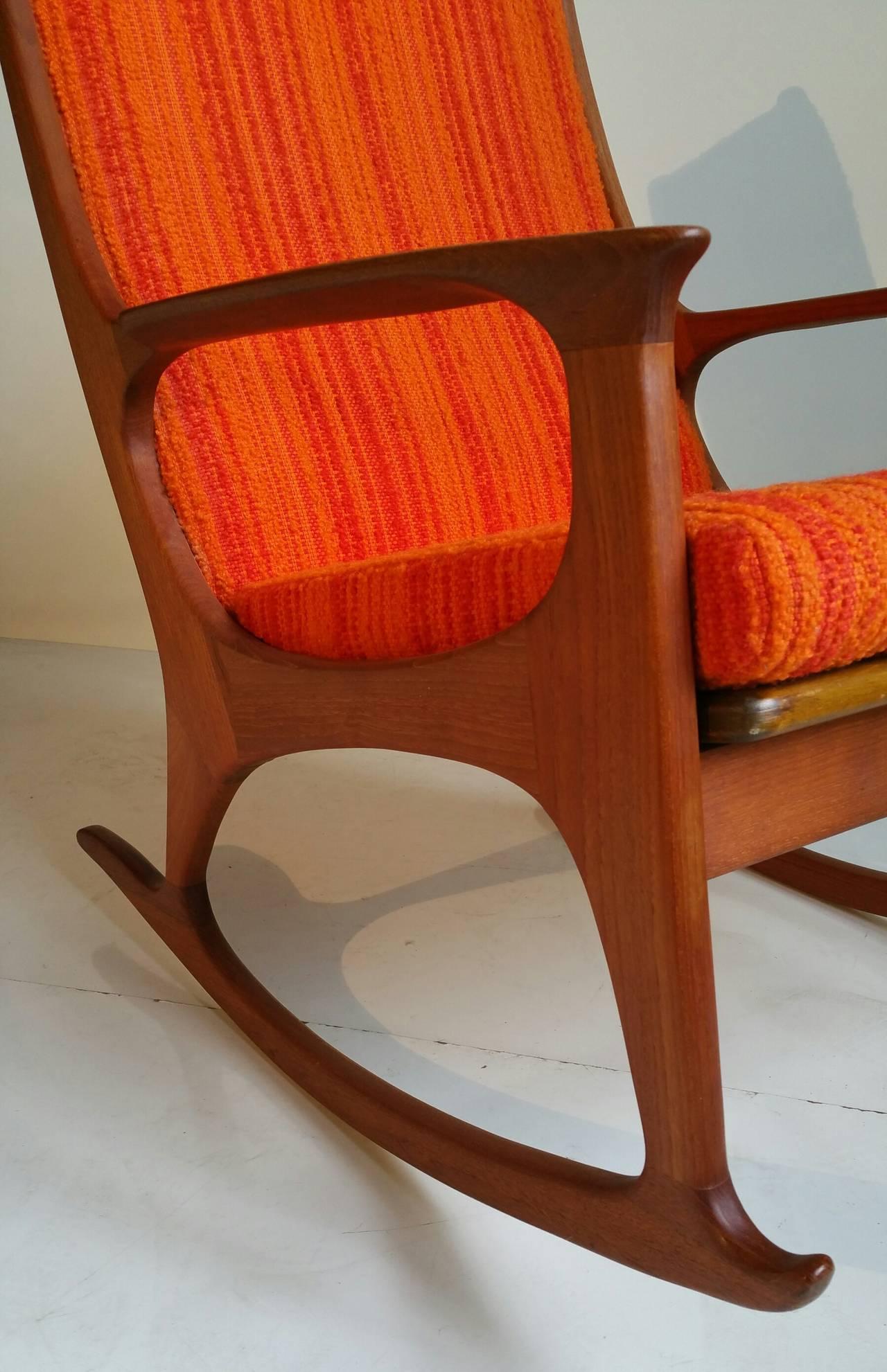 Midcentury Danish Modern Teak Rocking Chair At 1stdibs