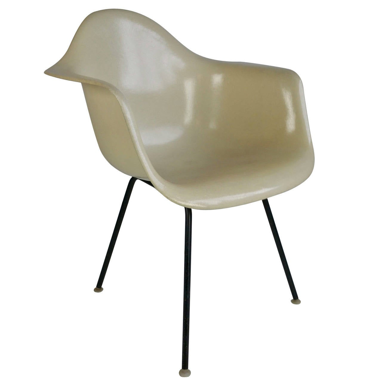 Charles Eames Parchment Arm Shell Chair Herman Miller For
