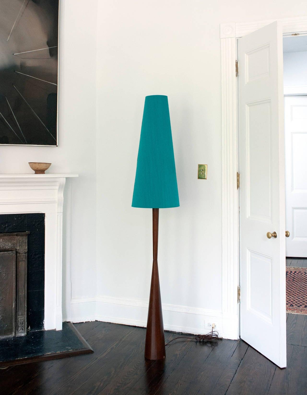 Tall Danish Modern Teak Floor Lamp With Original Silk