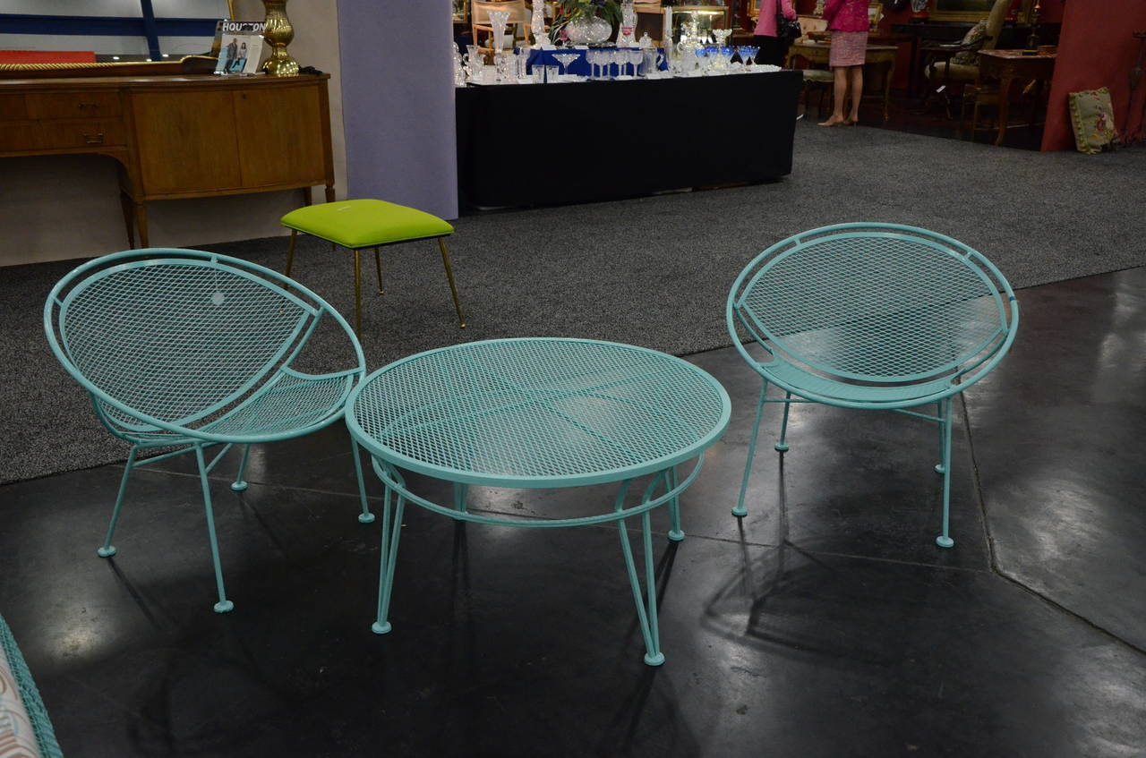powder coated in blue pair of salterini orange slice patio chairs and table