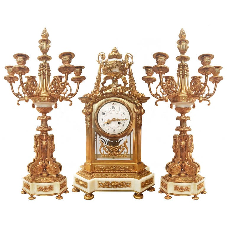 Fantastic French Gold Gilt Bronze And Marble Clock Set