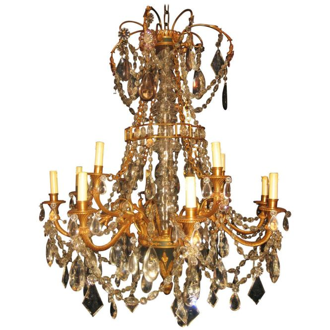 Fine Antique French Louis Xvi Style Gilt Bronze And Cut Crystal Chandelier For