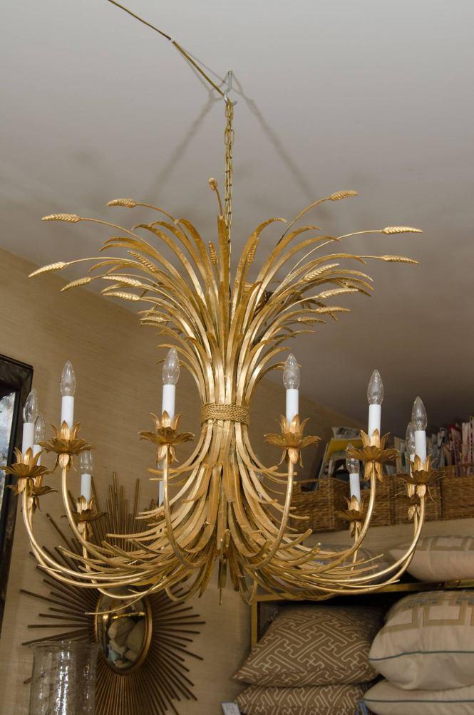 Large Gilt Metal Palm Frond Chandelier