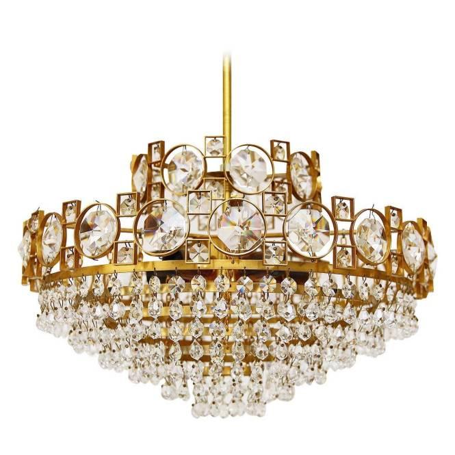 Gilt Brass Sciolari Style Crystal Glass Chandelier Or Flush Mount Italy 1960s 1
