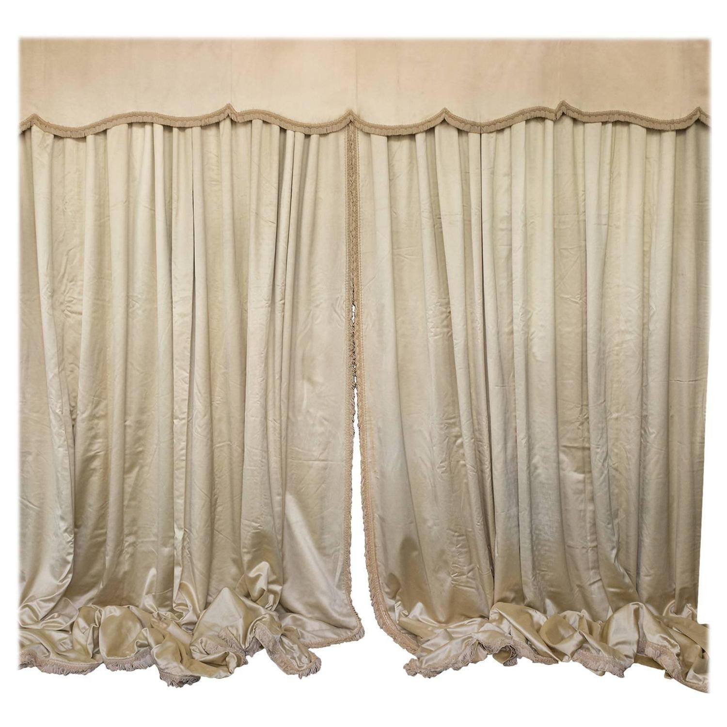 Very Large Pair Of Vintage French Beige Satin D S With