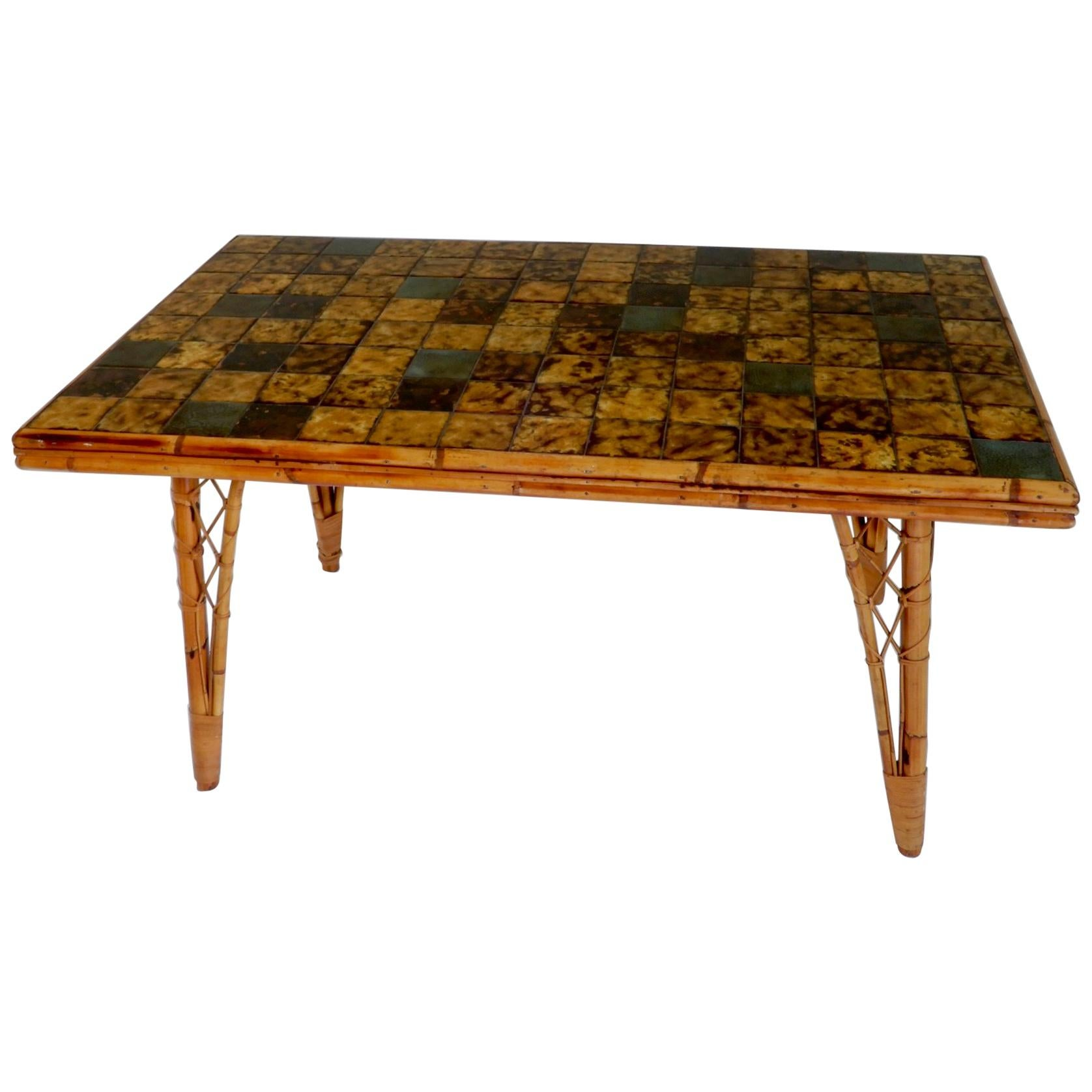 french bamboo dining table with ceramic tile top 1950s