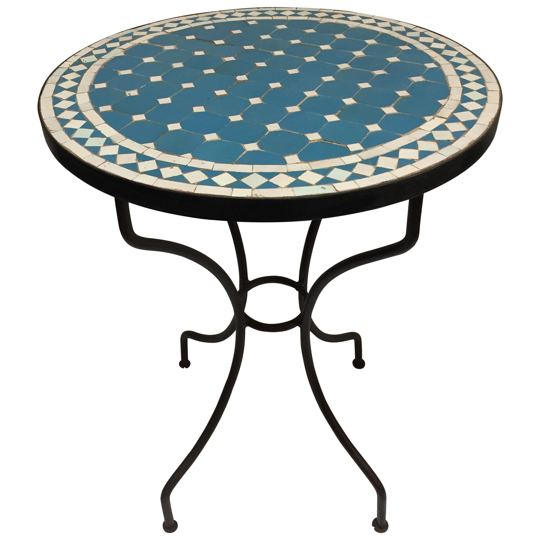 moroccan mosaic blue tile bistro table