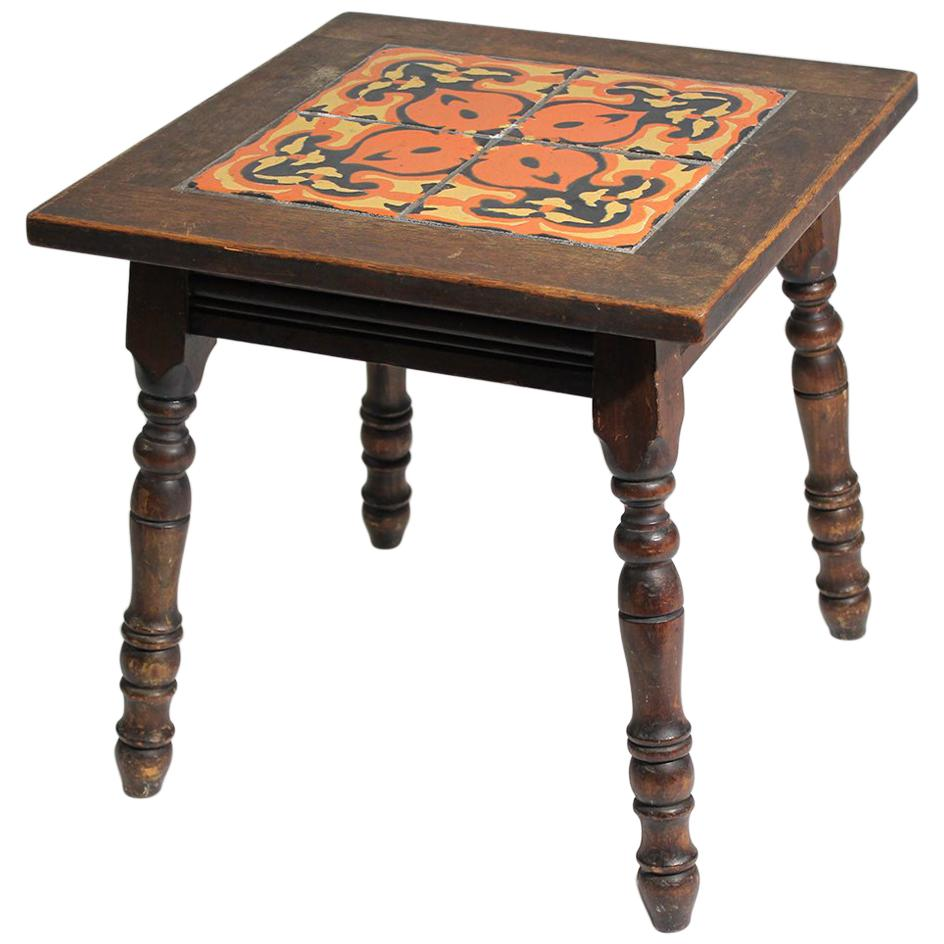 antique california mission taylor malibu wood and tile top side table