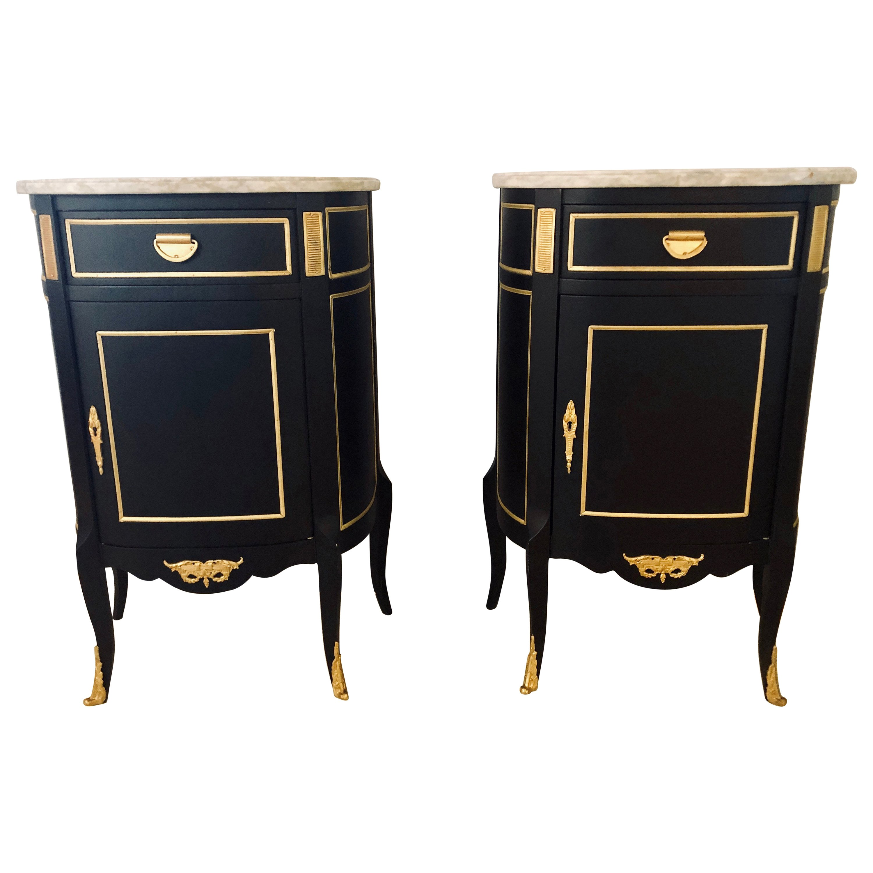 Hollywood Regency Ebony Marble Top Louis Xv Style Nightstand End Tables Pair