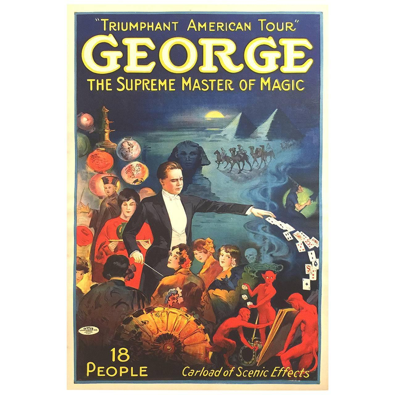 American Art Deco Period Poster For George The Magician