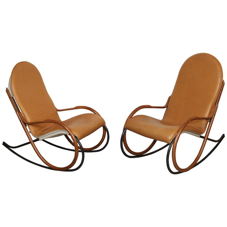 Pair Of Paul Tuttle Rocking Chairs At 1stdibs