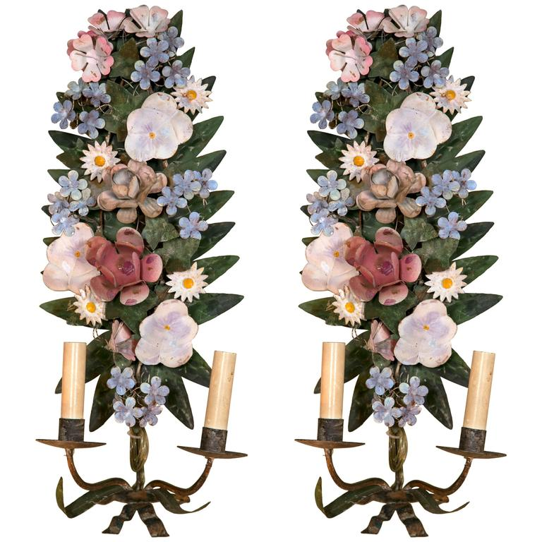 Italian Tole Flower Wall Sconces at 1stdibs on Wall Sconces With Flowers id=36231