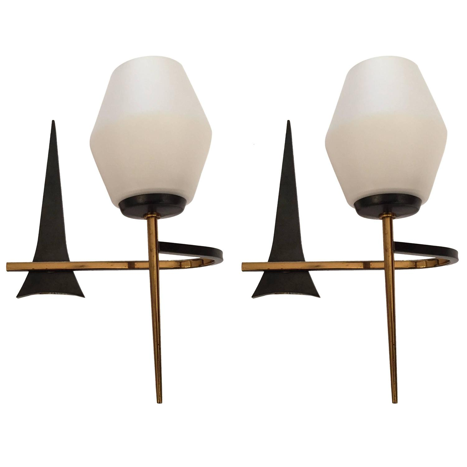 Pair of French 1950s Mid-Century Modern Sconces at 1stdibs on Mid Century Modern Sconces id=96272