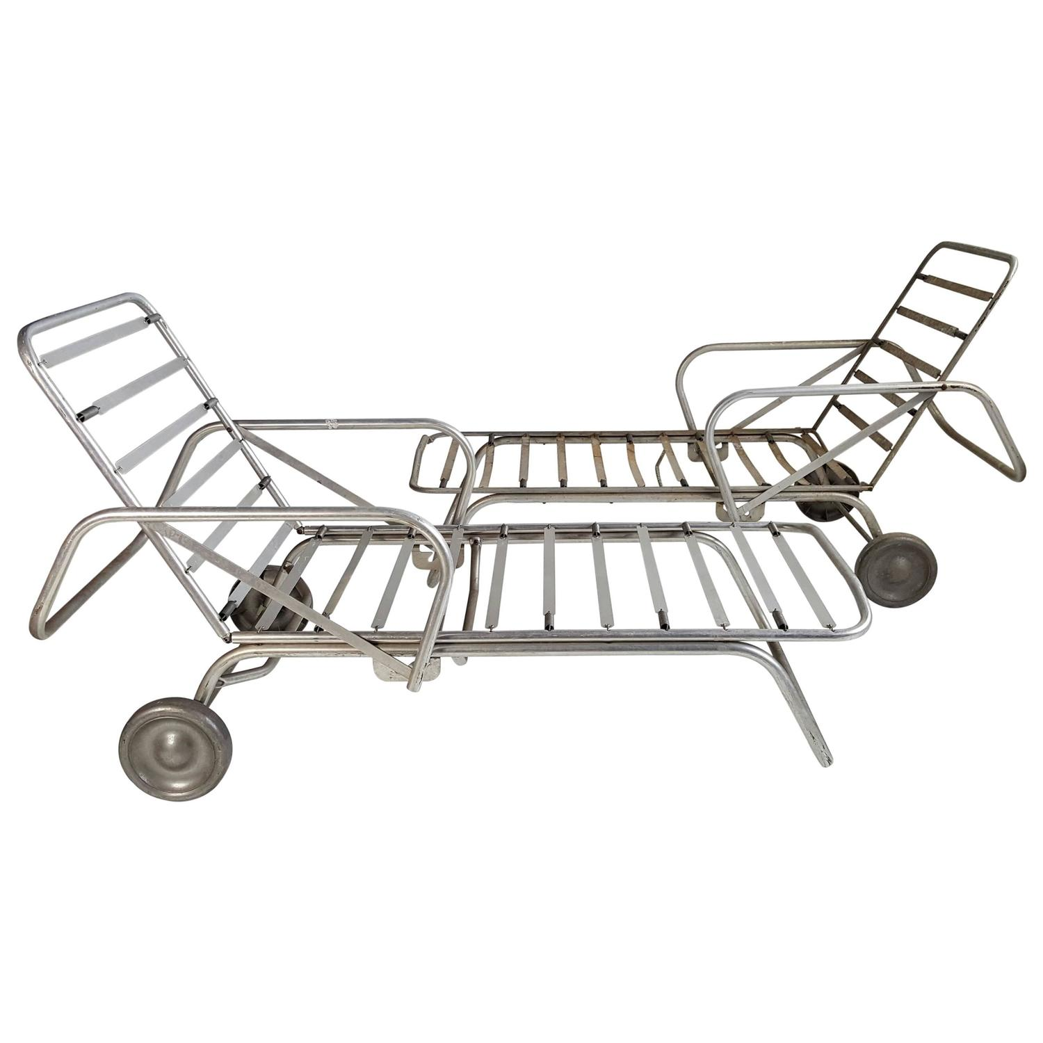 Pair Of Machine Age Or Art Deco Aluminum Chaise Lounges