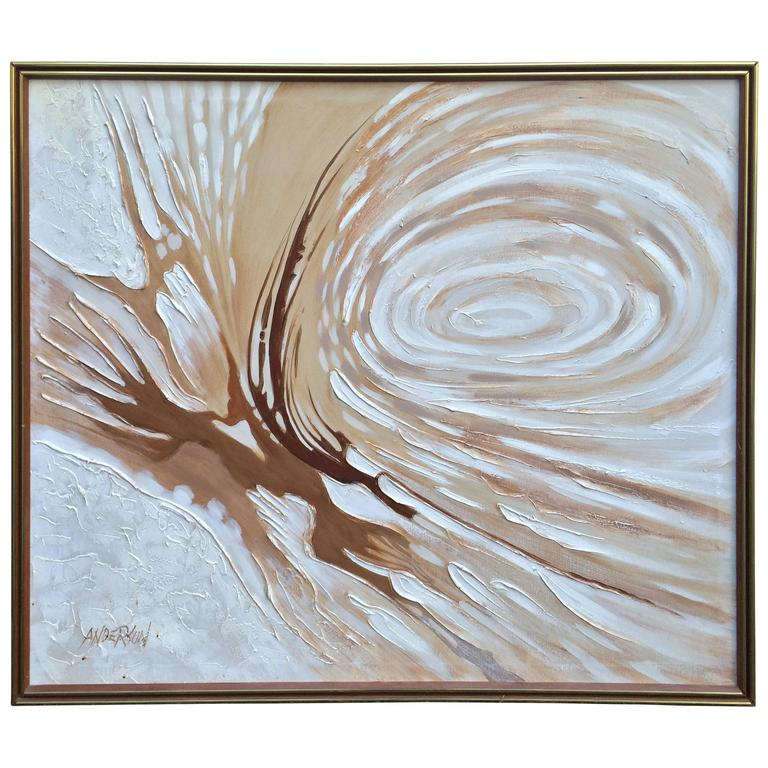 1960s Original Large Abstract Oil On Canvas By Anderson At