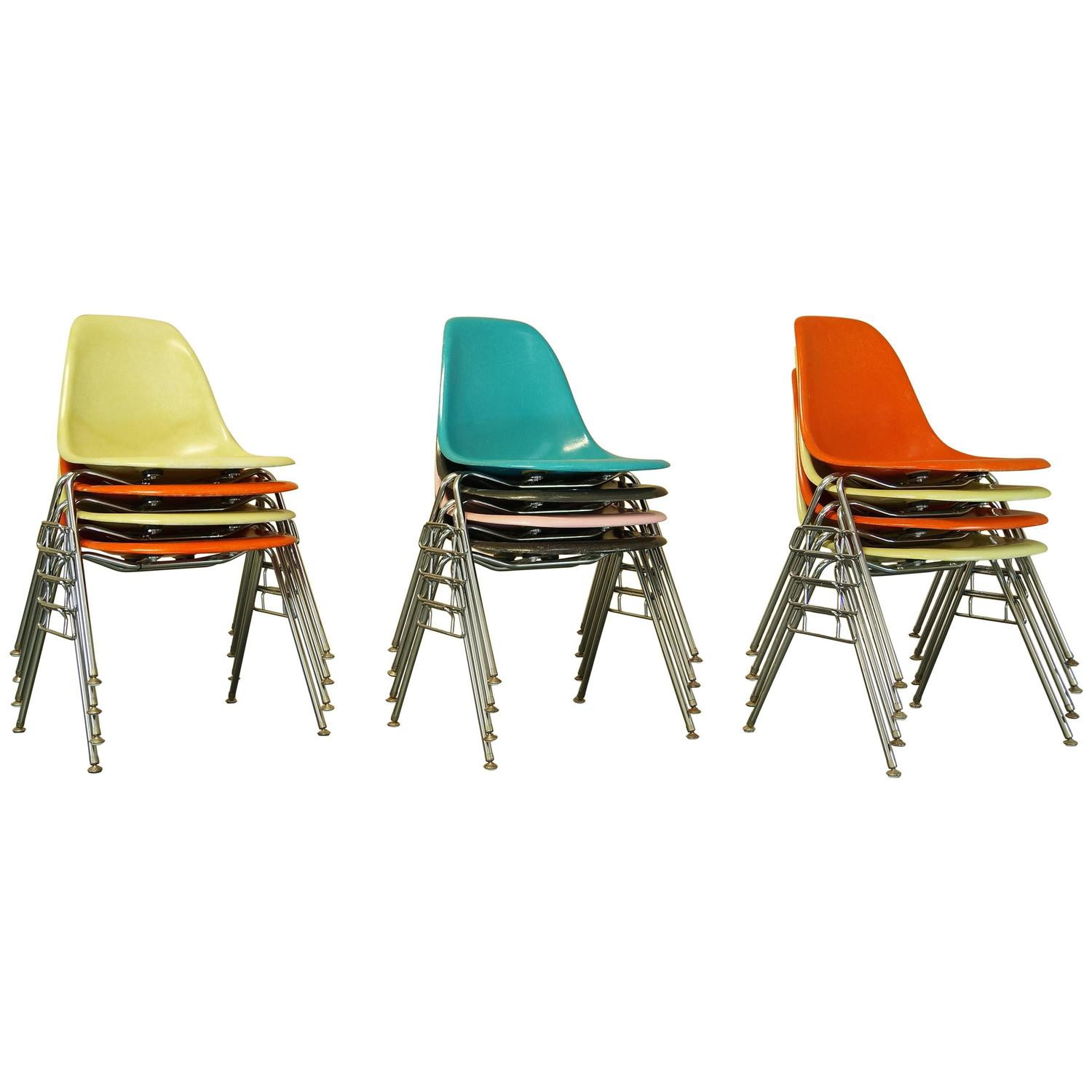 Vintage Mid Century Eames Fiberglass Stacking Shell Chairs