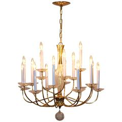 1950s Modern Large Brass And Cut Glass Chandelier By Lightolier