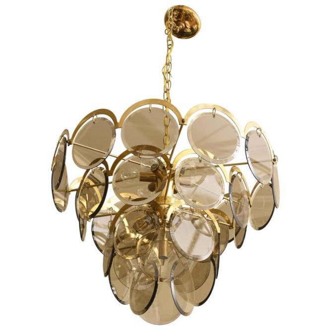 Italian Murano Vistosi Smoked Beveled Glass Disk And Brass Chandelier For